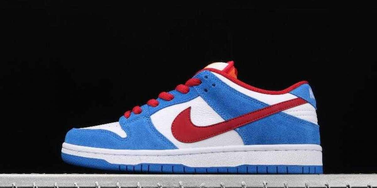 New Nike SB Dunk Low Doraemon White Blue University Red for Sale