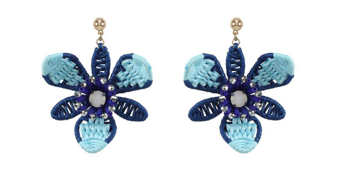 Cross Stitch Statement Earrings Geometrical Shape